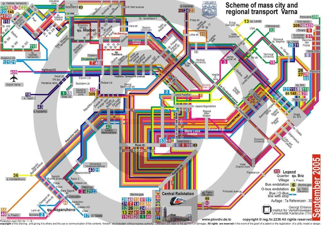 Подробная транспортная карта Варны