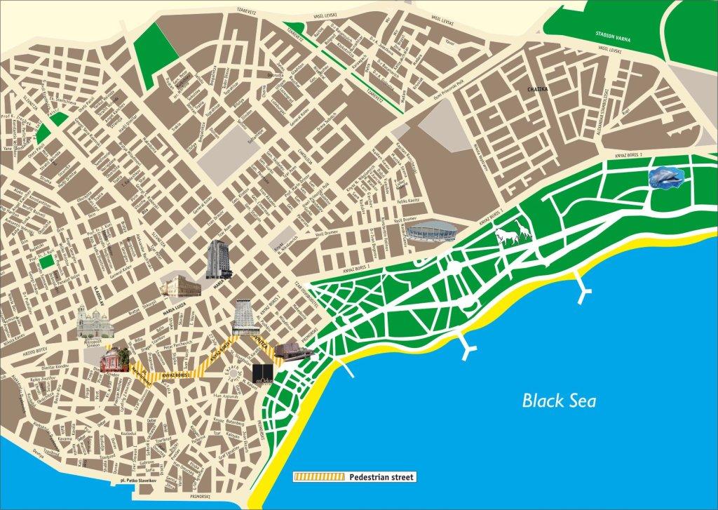 скачать подробную карту достопримечательностей города Варна
